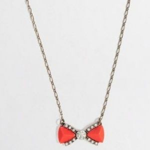 J. Crew coral rhinestone Bow Necklace